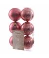 Kerstboom decoratie kerstballen mix oud roze 6 stuks