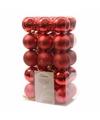 Kerstboom decoratie kerstballen mix rood 30 stuks