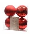 Kerstboom decoratie kerstballen mix rood 4 stuks