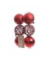 Kerstboom decoratie kerstballen mix rood 6 stuks