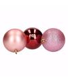 Kerstboom decoratie kerstballen mix roze bordeaux 9 stuks