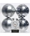 Kerstboom decoratie kerstballen mix zilver 4 stuks