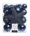 Kerstboom decoratie kerstballen set blauw 33 stuks
