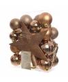 Kerstboom decoratie kerstballen set brons 33 stuks