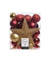 Kerstboom decoratie kerstballen set goud rood 33 stuks