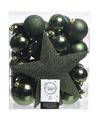 Kerstboom decoratie kerstballen set groen 33 stuks