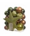 Kerstboom decoratie kerstballen set groen bruin 33 stuks