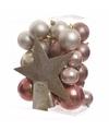 Kerstboom decoratie kerstballen set roze parel 33 stuks