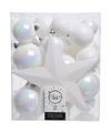 Kerstboom decoratie kerstballen set wit 33 stuks
