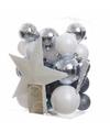 Kerstboom decoratie kerstballen set wit blauw 33 stuks