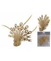 Kerstboom decoratie pauw op clip goud 12 cm 2 stuks