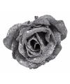 Kerstboom decoratie roos op clip zilver glitter 9 cm