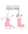 Kerstboom decoratie roze schaatsen hangers 10 cm 2 stuks