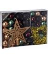 Kerstboom decoratie set 33 delig groen zwart brons
