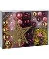 Kerstboom decoratie set 33 delig roze candy classics