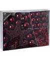 Kerstboom decoratie set 33 delig wijnrood cherry classics
