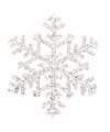 Kerstboom decoratie sneeuwvlok hanger 18 cm transparant
