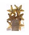 Kerstboom decoratie sterren goud 6 stuks christmas gold 7 cm
