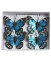 Kerstboom vlinders metallic blauw type 1