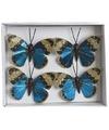 Kerstboom vlinders metallic blauw type 2