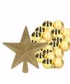 Kerstboomdecoratie set met gouden kerstballen 36x en ster piek