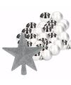 Kerstboomdecoratie set met zilveren kerstballen 36x en ster piek
