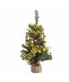 Kerstboompje groen goud met verlichting 60 cm