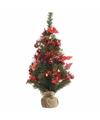 Kerstboompje groen rood met verlichting 60 cm