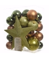 Kerstboomversiering set nature christmas 33 delig
