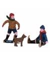 Kerstdorp jongens met hond op ijs elfstedentocht