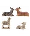 Kerststal dierenbeeldjes 4 stuks 9 cm