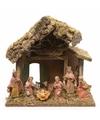 Kerststal met 8 figuren 27 x 17 x 26 cm