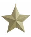 Kerstversiering hangdecoratie ster glitter goud 22 cm
