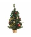 Kunst kerstboompje groen multikleur 60 cm met verlichting