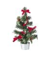 Mini kerstboompje zilver met rode versiering 20 cm