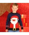 Foute kerstman print trui blauw voor kinderen