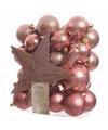 Oud roze kerstboomversiering set sweet christmas 33 delig