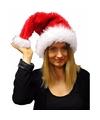 Pluche kerstmuts rood wit voor volwassenen