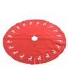 Rode kerstboomrok kleed met rendieren 100 cm