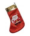 Rode kerstsok met kerstman 58 cm