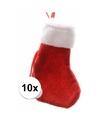 Rode mini kerstsokken 10 stuks 15 cm