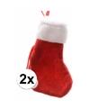 Rode mini kerstsokken 2 stuks 15 cm