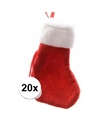 Rode mini kerstsokken 20 stuks 15 cm