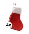 Rode mini kerstsokken 4 stuks 15 cm