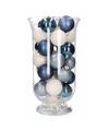 Woondecoratie blauw witte kerstballen in vaas