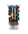 Woondecoratie bruin gouden kerstballen in vaas