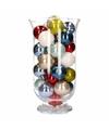 Woondecoratie gekleurde kerstballen in vaas
