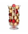 Woondecoratie goud rode kerstballen in vaas