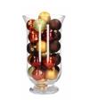 Woondecoratie rood bruine kerstballen in vaas
