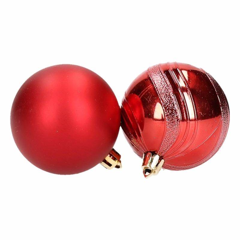 6 Rode Kerstballen Glanzend En Mat Bij Kerst Artikelen Nl